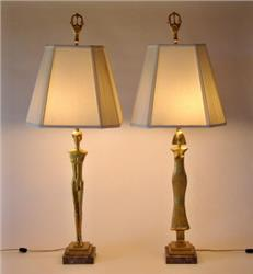 GIACOMETTI BRONZE LAMP PAIR  SOLD