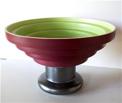 bowl vase green red by ettore sottsass