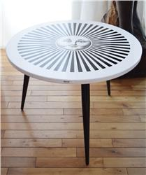 piero fornasetti table radiant sun 3 legs base black white IN STOCK
