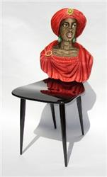 fornasetti chair moro moor red drape