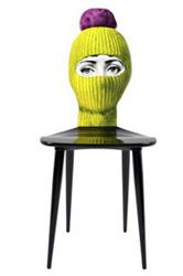fornasetti lux-gstaad chair yellow with pink pon in STOCK